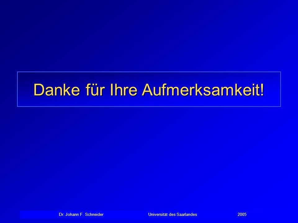 Dr. Johann F. SchneiderUniversität des Saarlandes2005 Danke für Ihre Aufmerksamkeit!