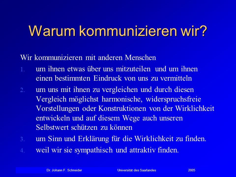 Dr. Johann F. SchneiderUniversität des Saarlandes2005 Warum kommunizieren wir? Wir kommunizieren mit anderen Menschen 1. um ihnen etwas über uns mitzu
