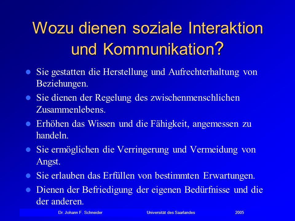 Dr. Johann F. SchneiderUniversität des Saarlandes2005 Wozu dienen soziale Interaktion und Kommunikation ? Sie gestatten die Herstellung und Aufrechter