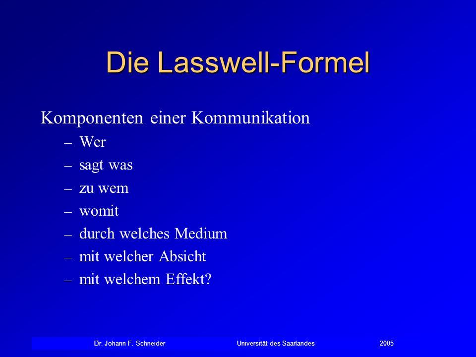 Dr. Johann F. SchneiderUniversität des Saarlandes2005 Die Lasswell-Formel Komponenten einer Kommunikation – Wer – sagt was – zu wem – womit – durch we