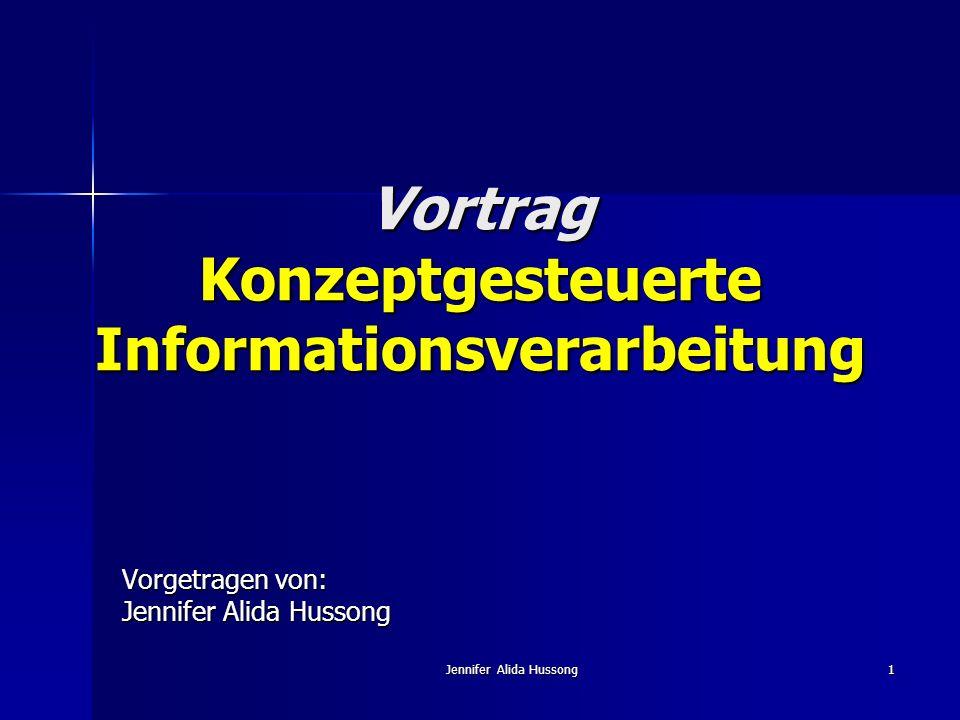 Jennifer Alida Hussong32 Die Funktion von Schemata: Timing der Aktivierung: Timing der Aktivierung: Wird das Schema vor der Darbietung der spezifischen Information aktiviert, beeinflusst es die Interpretation der Information.