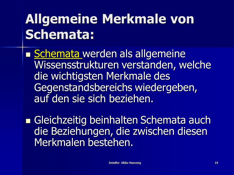 Jennifer Alida Hussong10 Allgemeine Merkmale von Schemata: Schemata werden als allgemeine Wissensstrukturen verstanden, welche die wichtigsten Merkmal