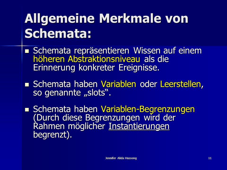 Jennifer Alida Hussong11 Allgemeine Merkmale von Schemata: Schemata repräsentieren Wissen auf einem höheren Abstraktionsniveau als die Erinnerung konk