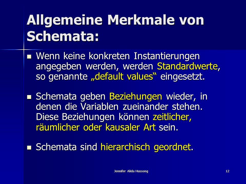 Jennifer Alida Hussong12 Allgemeine Merkmale von Schemata: Wenn keine konkreten Instantierungen angegeben werden, werden Standardwerte, so genannte de