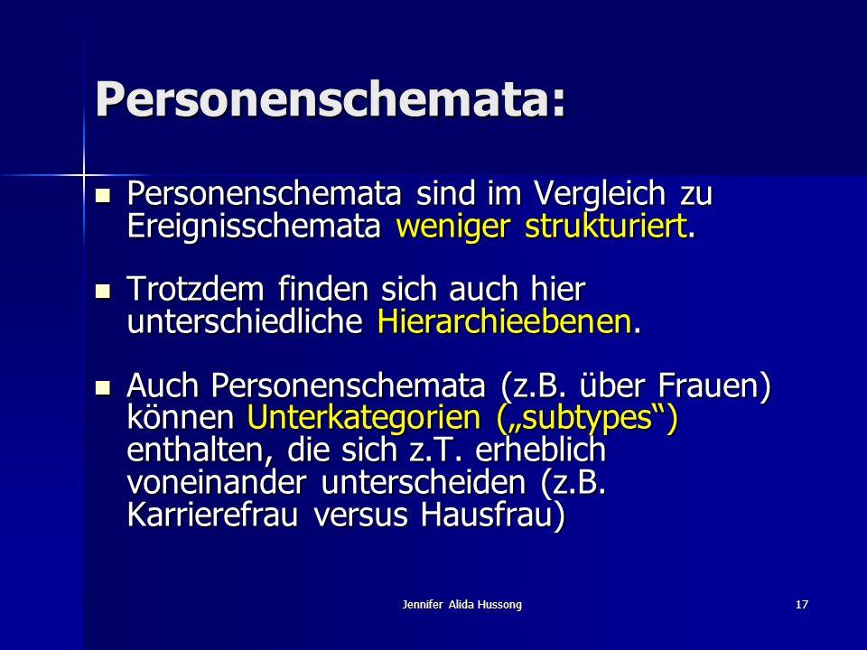 Jennifer Alida Hussong17 Personenschemata: Personenschemata sind im Vergleich zu Ereignisschemata weniger strukturiert. Personenschemata sind im Vergl