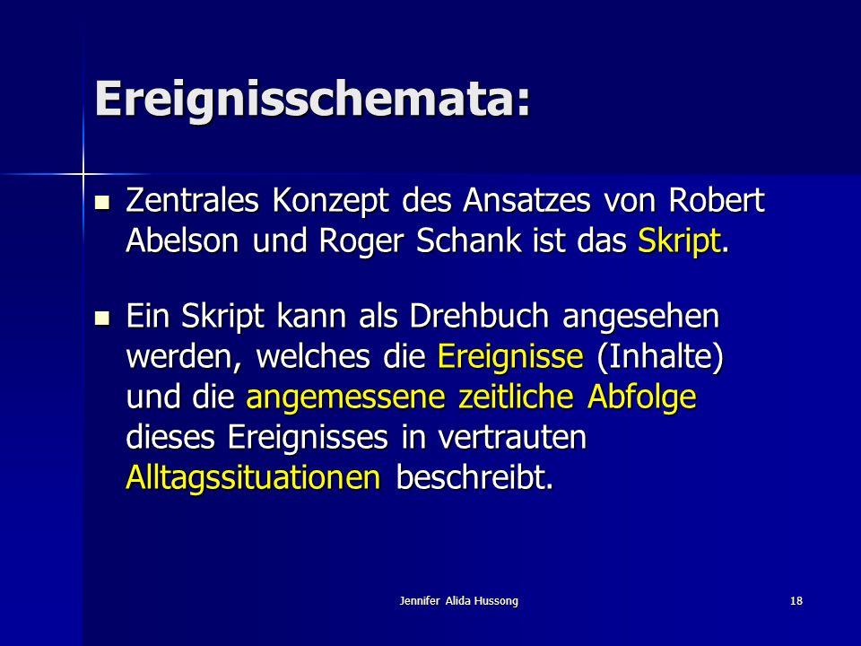 Jennifer Alida Hussong18 Ereignisschemata: Zentrales Konzept des Ansatzes von Robert Abelson und Roger Schank ist das Skript. Zentrales Konzept des An