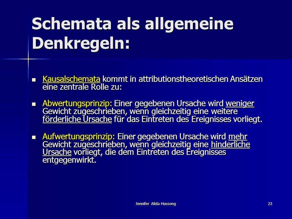 Jennifer Alida Hussong23 Schemata als allgemeine Denkregeln: Kausalschemata kommt in attributionstheoretischen Ansätzen eine zentrale Rolle zu: Kausal