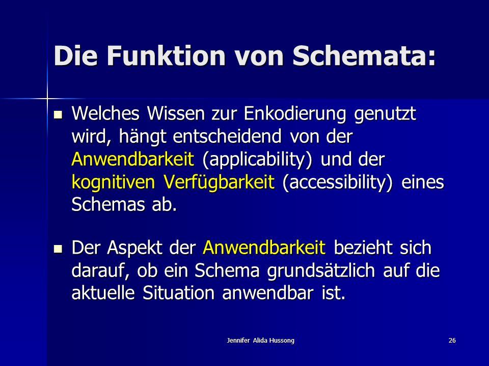 Jennifer Alida Hussong26 Die Funktion von Schemata: Welches Wissen zur Enkodierung genutzt wird, hängt entscheidend von der Anwendbarkeit (applicabili