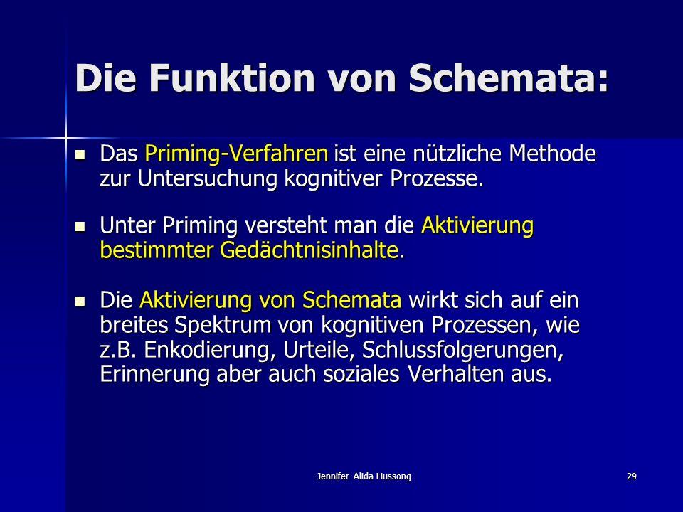 Jennifer Alida Hussong29 Die Funktion von Schemata: Das Priming-Verfahren ist eine nützliche Methode zur Untersuchung kognitiver Prozesse. Das Priming