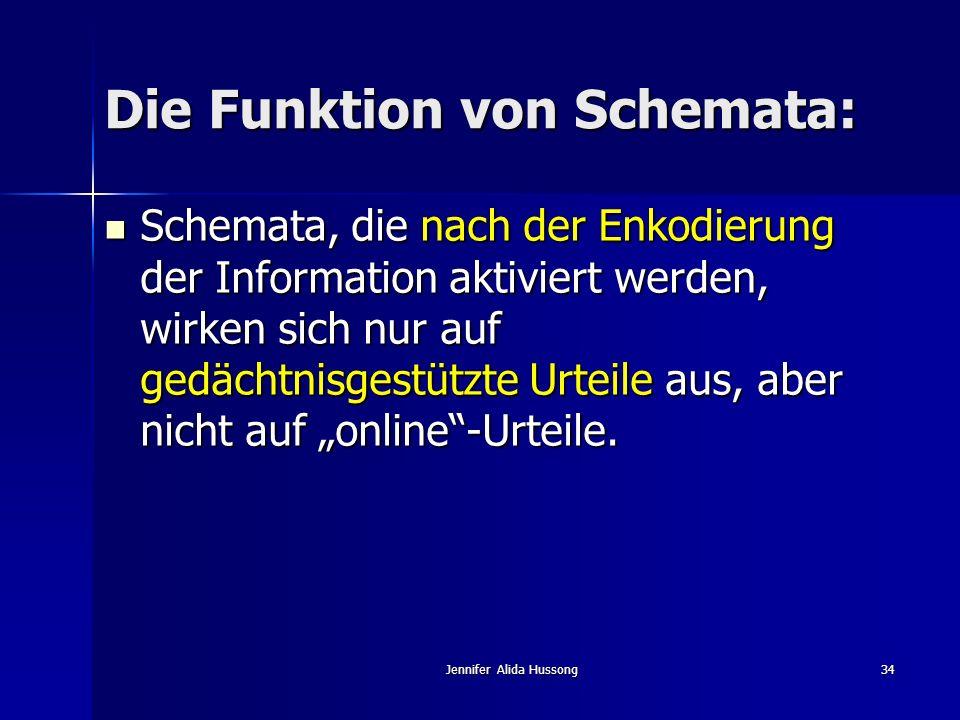Jennifer Alida Hussong34 Die Funktion von Schemata: Schemata, die nach der Enkodierung der Information aktiviert werden, wirken sich nur auf gedächtni