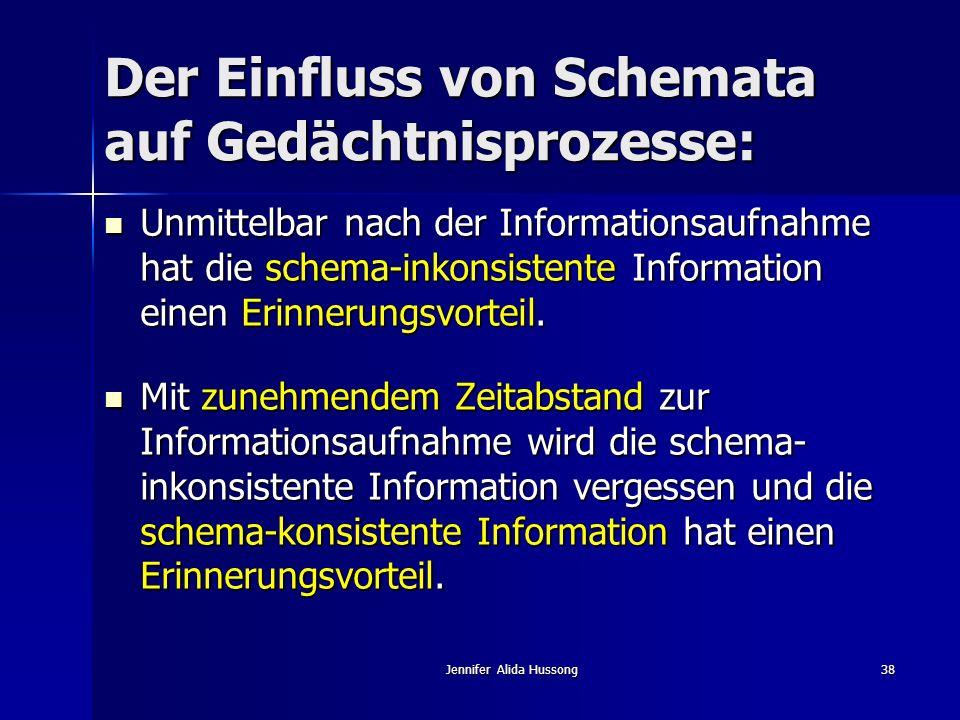 Jennifer Alida Hussong38 Der Einfluss von Schemata auf Gedächtnisprozesse: Unmittelbar nach der Informationsaufnahme hat die schema-inkonsistente Info