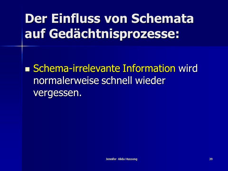 Jennifer Alida Hussong39 Der Einfluss von Schemata auf Gedächtnisprozesse: Schema-irrelevante Information wird normalerweise schnell wieder vergessen.