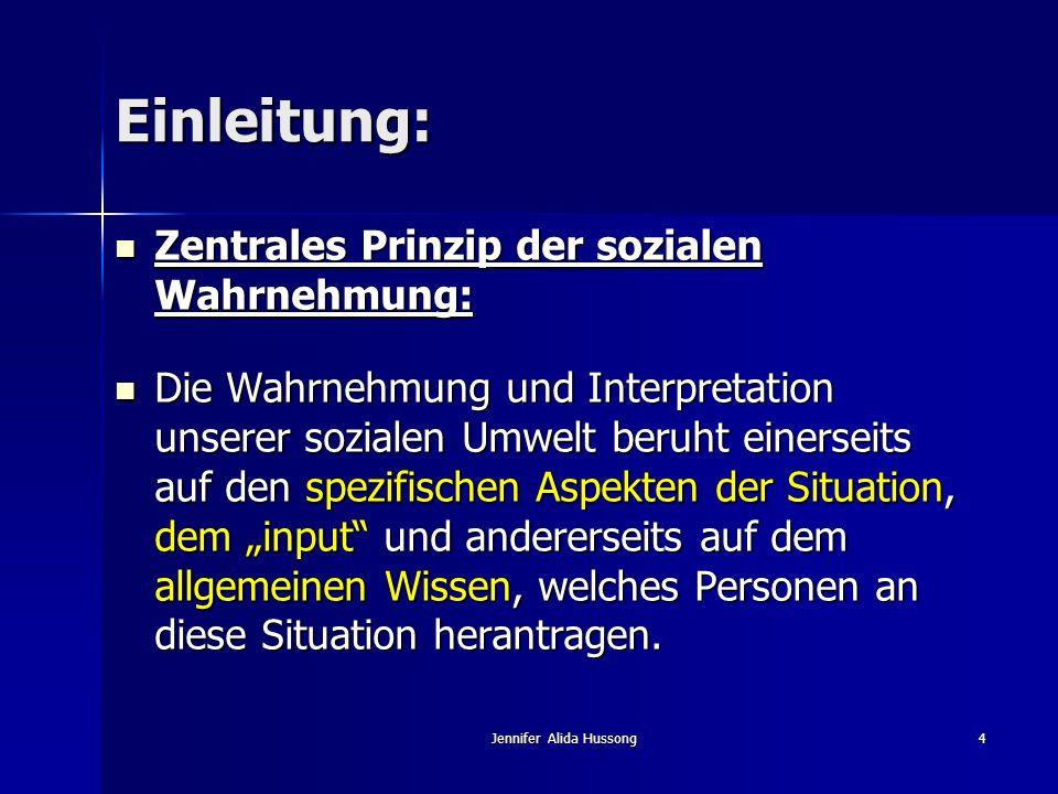 Jennifer Alida Hussong4 Einleitung: Zentrales Prinzip der sozialen Wahrnehmung: Zentrales Prinzip der sozialen Wahrnehmung: Die Wahrnehmung und Interp