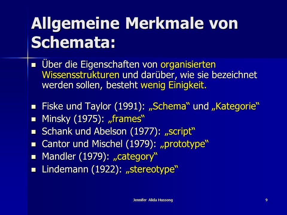 Jennifer Alida Hussong9 Allgemeine Merkmale von Schemata: Über die Eigenschaften von organisierten Wissensstrukturen und darüber, wie sie bezeichnet w