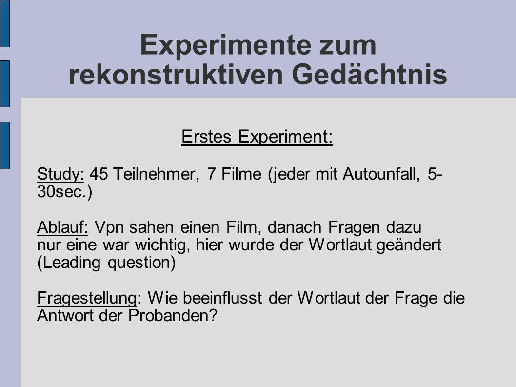 Experimente zum rekonstruktiven Gedächtnis Erstes Experiment: Study: 45 Teilnehmer, 7 Filme (jeder mit Autounfall, 5- 30sec.) Ablauf: Vpn sahen einen