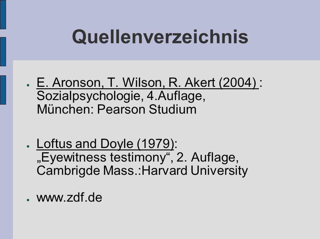 Quellenverzeichnis E. Aronson, T. Wilson, R. Akert (2004) : Sozialpsychologie, 4.Auflage, München: Pearson Studium Loftus and Doyle (1979): Eyewitness