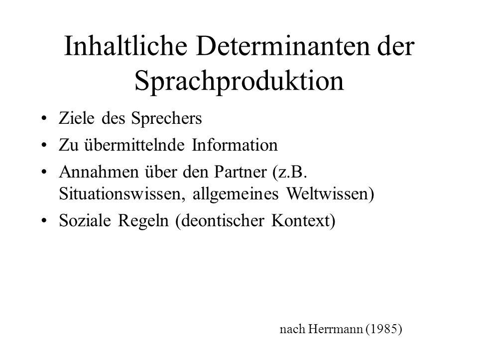 Inhaltliche Determinanten der Sprachproduktion Ziele des Sprechers Zu übermittelnde Information Annahmen über den Partner (z.B. Situationswissen, allg