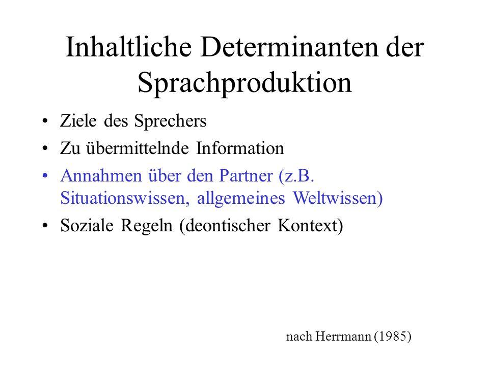Inhaltliche Determinanten der Sprachproduktion Ziele des Sprechers Zu übermittelnde Information Annahmen über den Partner (z.B.