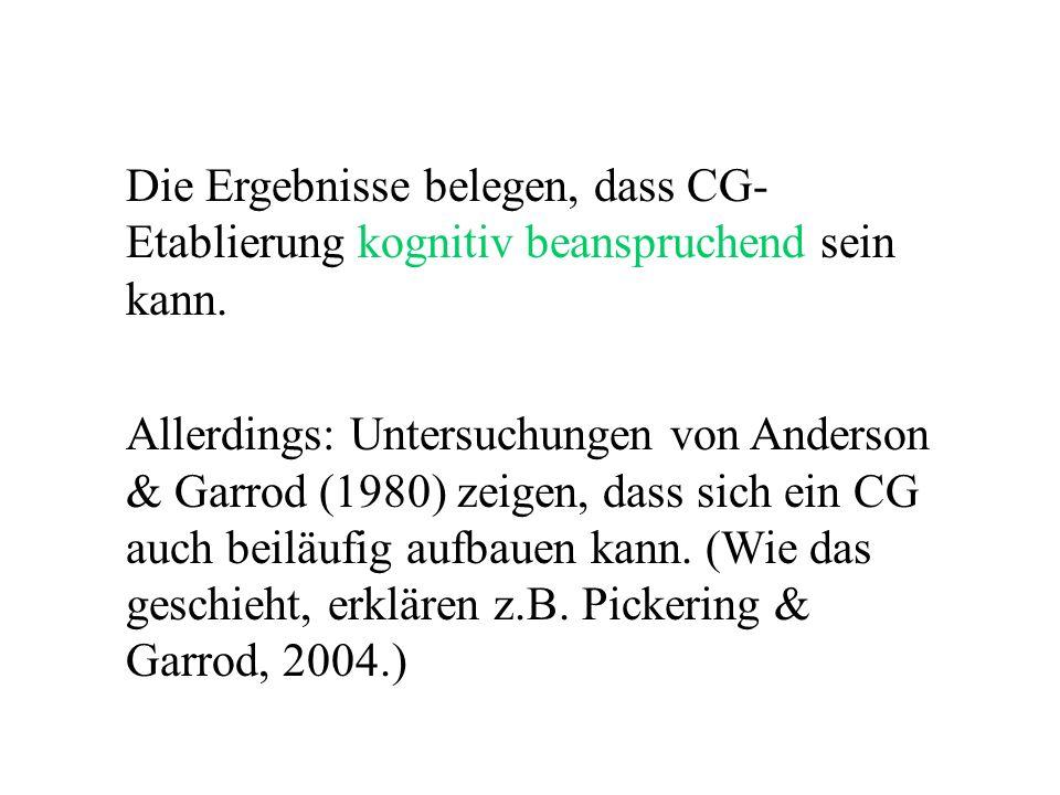 Die Ergebnisse belegen, dass CG- Etablierung kognitiv beanspruchend sein kann. Allerdings: Untersuchungen von Anderson & Garrod (1980) zeigen, dass si