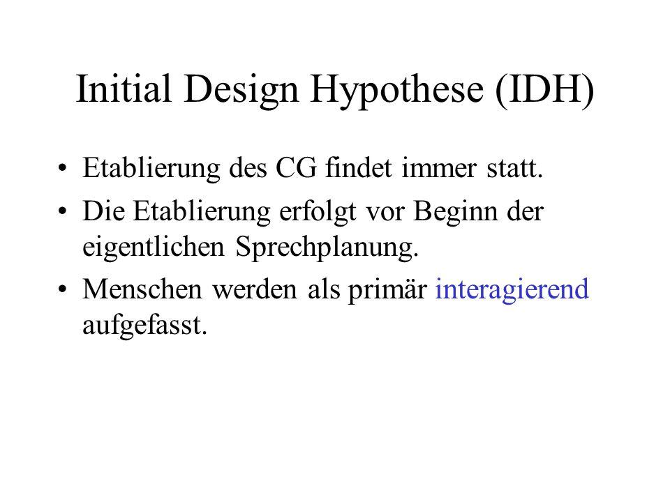 Initial Design Hypothese (IDH) Etablierung des CG findet immer statt. Die Etablierung erfolgt vor Beginn der eigentlichen Sprechplanung. Menschen werd