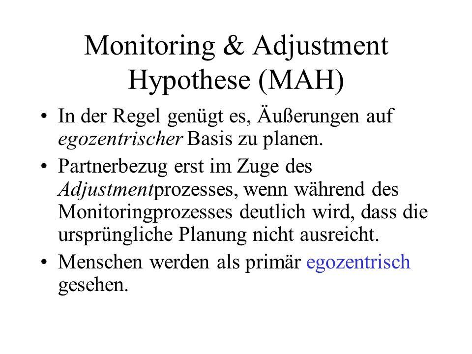 Monitoring & Adjustment Hypothese (MAH) In der Regel genügt es, Äußerungen auf egozentrischer Basis zu planen. Partnerbezug erst im Zuge des Adjustmen