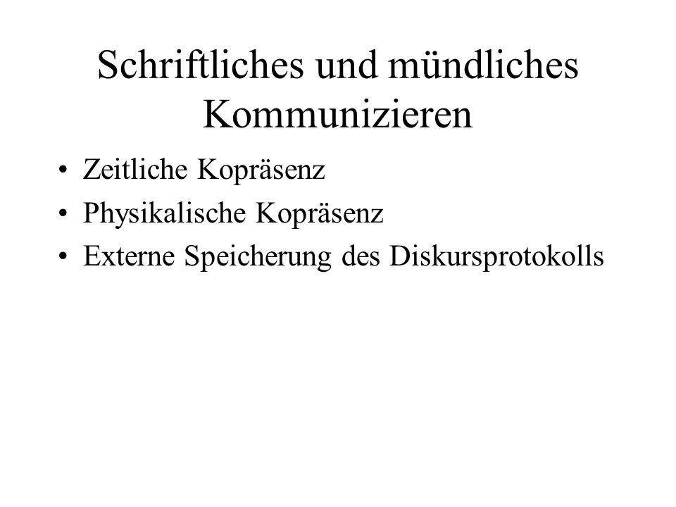 Schriftliches und mündliches Kommunizieren Zeitliche Kopräsenz Physikalische Kopräsenz Externe Speicherung des Diskursprotokolls