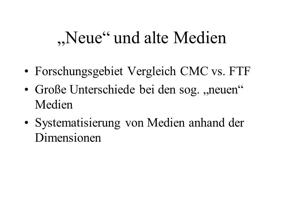 Neue und alte Medien Forschungsgebiet Vergleich CMC vs. FTF Große Unterschiede bei den sog. neuen Medien Systematisierung von Medien anhand der Dimens