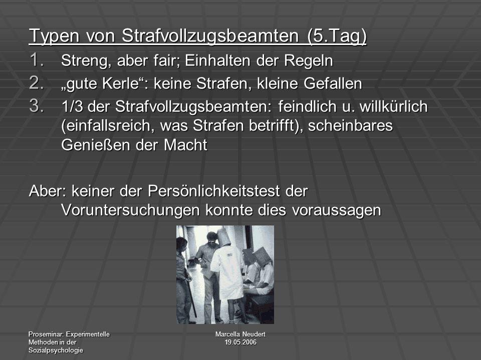 Proseminar: Experimentelle Methoden in der Sozialpsychologie Marcella Neudert 19.05.2006 Typen von Strafvollzugsbeamten (5.Tag) 1. Streng, aber fair;