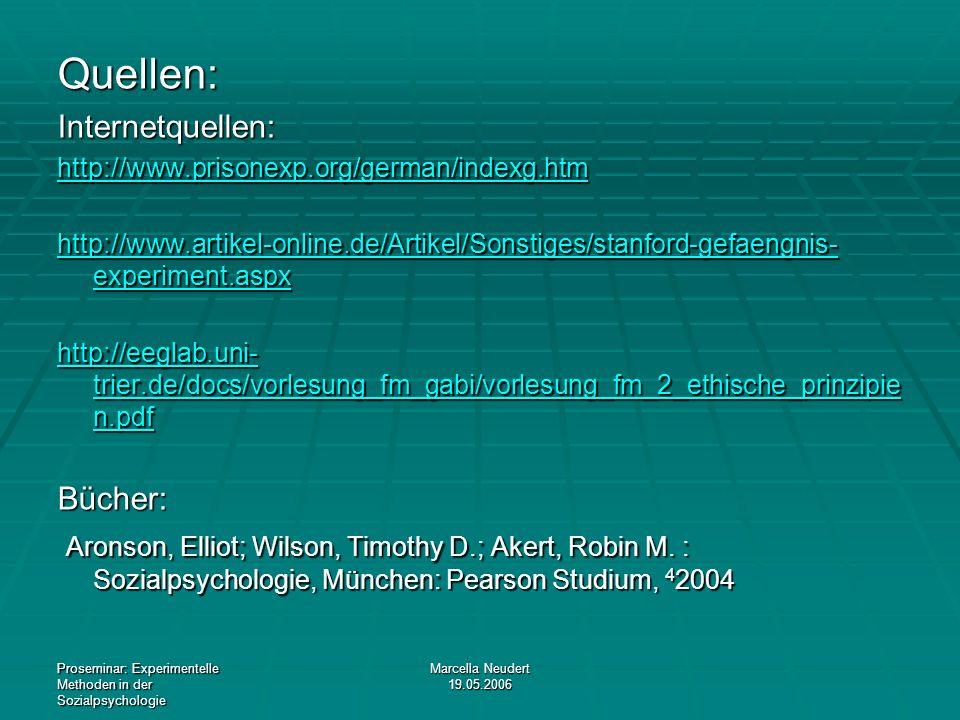 Proseminar: Experimentelle Methoden in der Sozialpsychologie Marcella Neudert 19.05.2006 Quellen:Internetquellen: http://www.prisonexp.org/german/inde