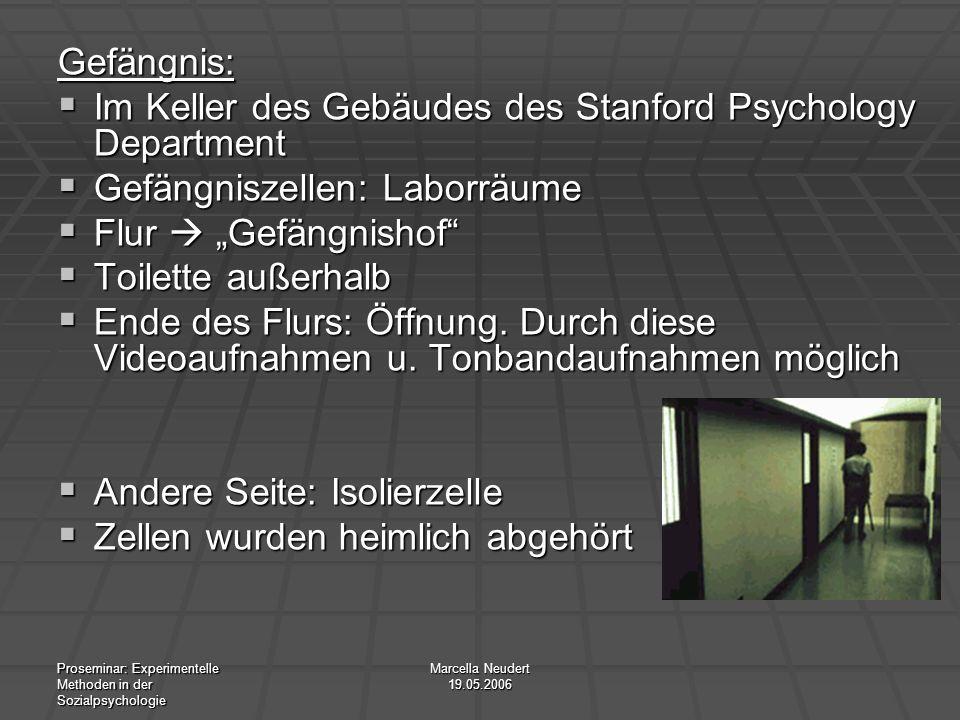 Proseminar: Experimentelle Methoden in der Sozialpsychologie Marcella Neudert 19.05.2006 Gefängnis: Im Keller des Gebäudes des Stanford Psychology Dep
