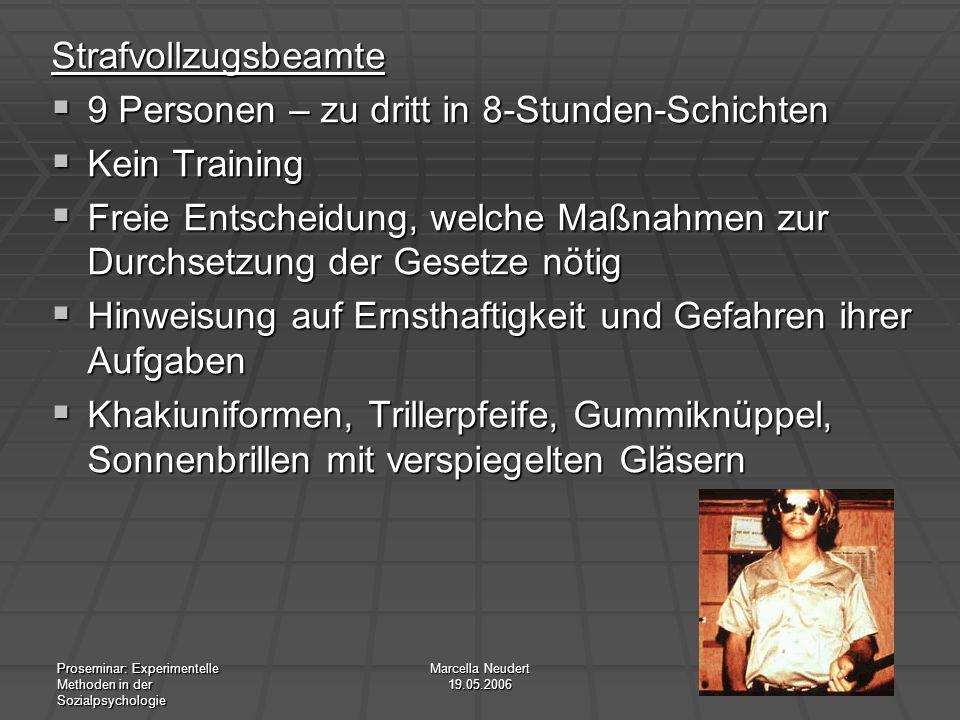 Proseminar: Experimentelle Methoden in der Sozialpsychologie Marcella Neudert 19.05.2006 Strafvollzugsbeamte 9 Personen – zu dritt in 8-Stunden-Schich