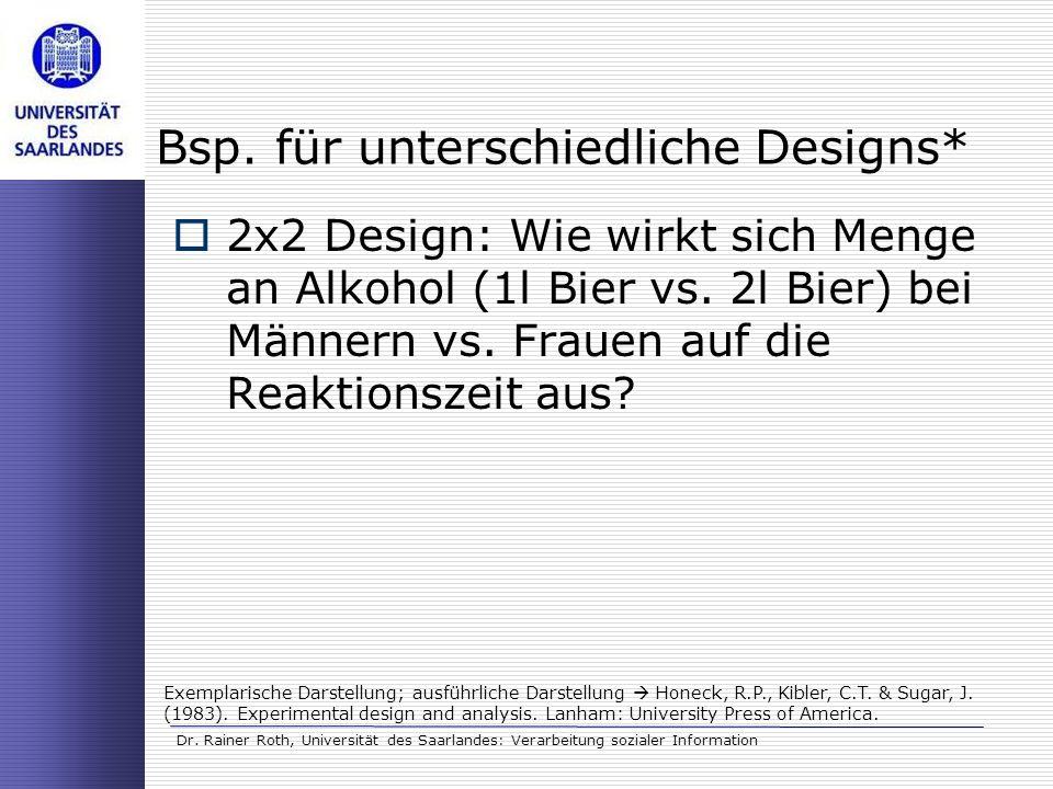 Dr. Rainer Roth, Universität des Saarlandes: Verarbeitung sozialer Information Bsp. für unterschiedliche Designs* 2x2 Design: Wie wirkt sich Menge an