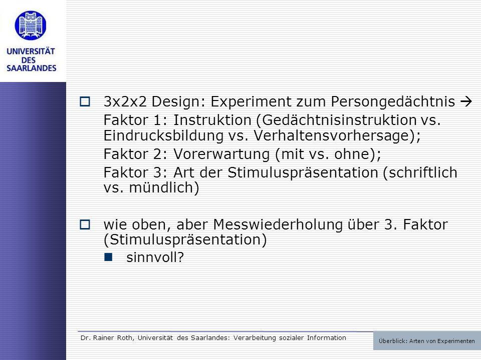Dr. Rainer Roth, Universität des Saarlandes: Verarbeitung sozialer Information 3x2x2 Design: Experiment zum Persongedächtnis Faktor 1: Instruktion (Ge