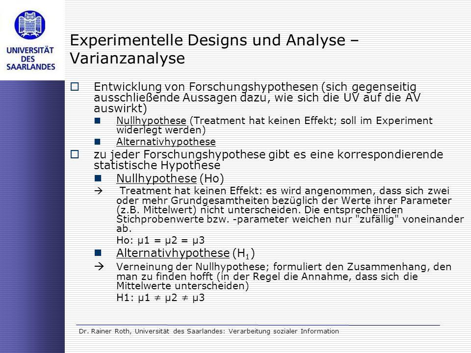 Dr. Rainer Roth, Universität des Saarlandes: Verarbeitung sozialer Information Experimentelle Designs und Analyse – Varianzanalyse Entwicklung von For