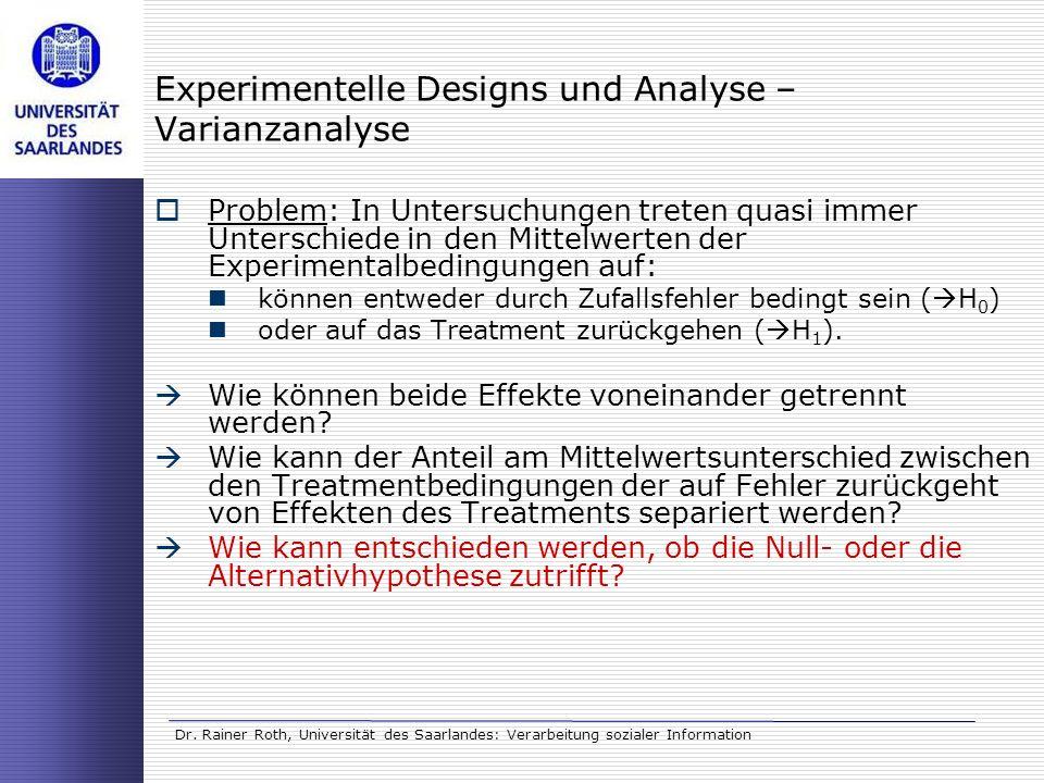 Dr. Rainer Roth, Universität des Saarlandes: Verarbeitung sozialer Information Experimentelle Designs und Analyse – Varianzanalyse Problem: In Untersu
