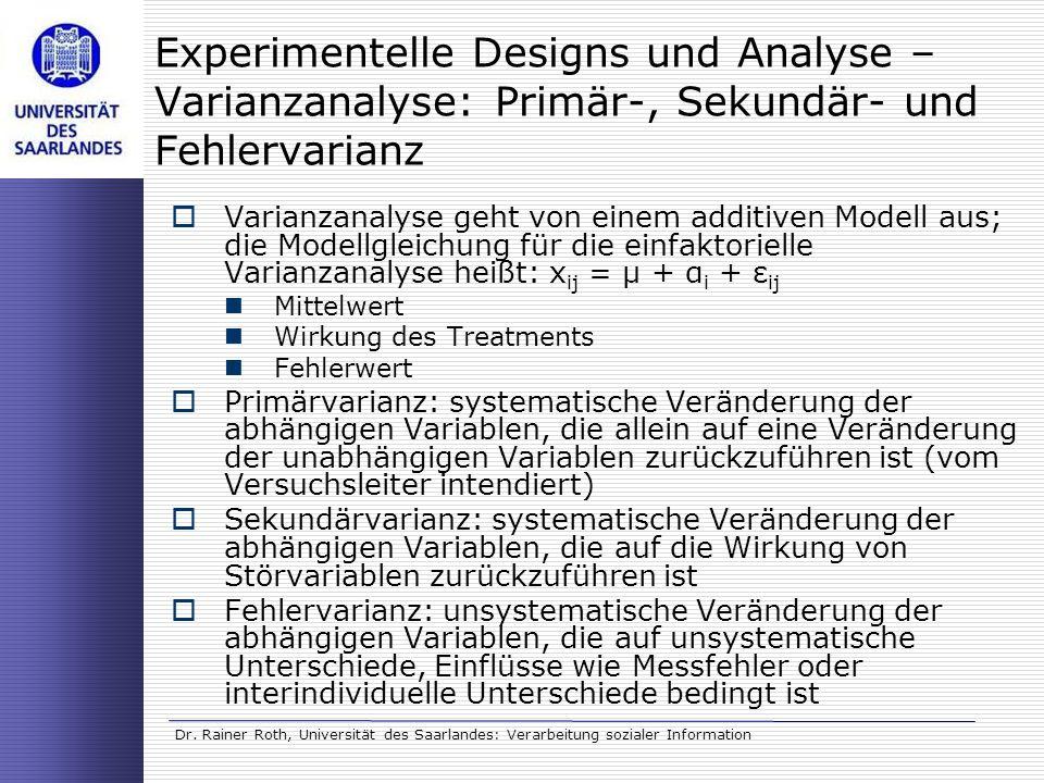 Dr. Rainer Roth, Universität des Saarlandes: Verarbeitung sozialer Information Experimentelle Designs und Analyse – Varianzanalyse: Primär-, Sekundär-