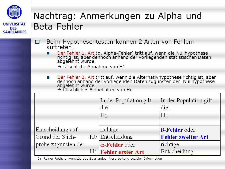 Dr. Rainer Roth, Universität des Saarlandes: Verarbeitung sozialer Information Beim Hypothesentesten können 2 Arten von Fehlern auftreten: Der Fehler