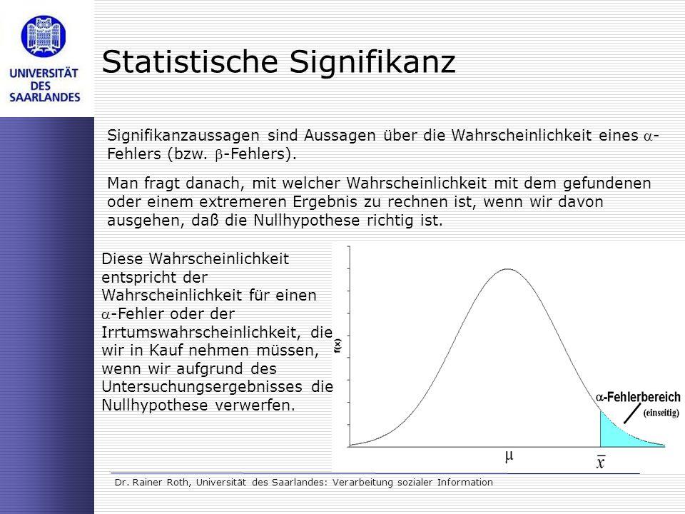 Dr. Rainer Roth, Universität des Saarlandes: Verarbeitung sozialer Information Statistische Signifikanz Signifikanzaussagen sind Aussagen über die Wah