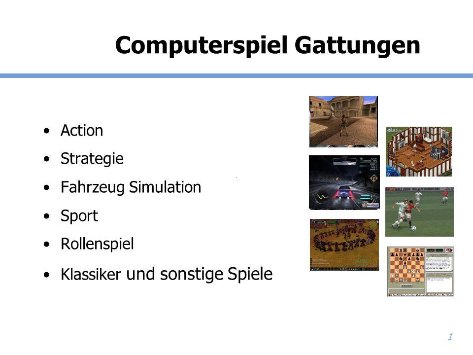 1 Computerspiel Gattungen Action Strategie Fahrzeug Simulation Sport Rollenspiel Klassiker und sonstige Spiele