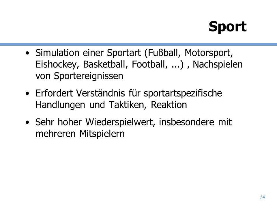14 Sport Simulation einer Sportart (Fußball, Motorsport, Eishockey, Basketball, Football,...), Nachspielen von Sportereignissen Erfordert Verständnis