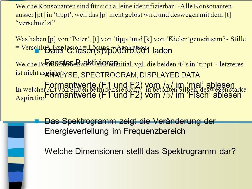 Aufrufen des Spektrums Sitzung 8 Welche Konsonanten sind für sich alleine identifizierbar.