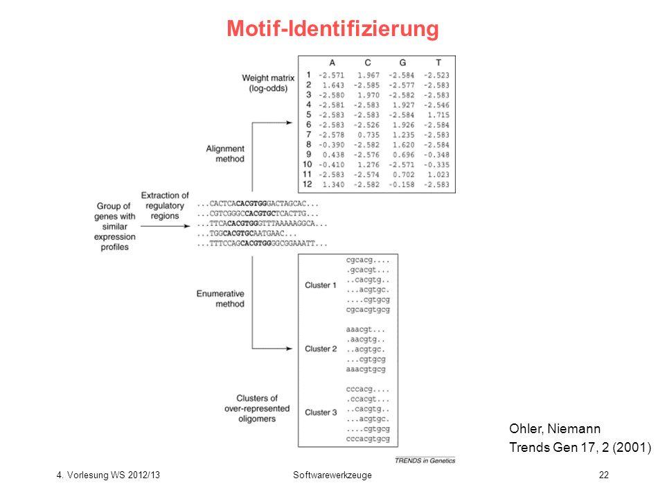 Softwarewerkzeuge22 Motif-Identifizierung Ohler, Niemann Trends Gen 17, 2 (2001) 4. Vorlesung WS 2012/13