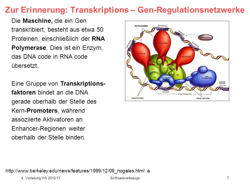 Softwarewerkzeuge7 Zur Erinnerung: Transkriptions – Gen-Regulationsnetzwerke Die Maschine, die ein Gen transkribiert, besteht aus etwa 50 Proteinen, e