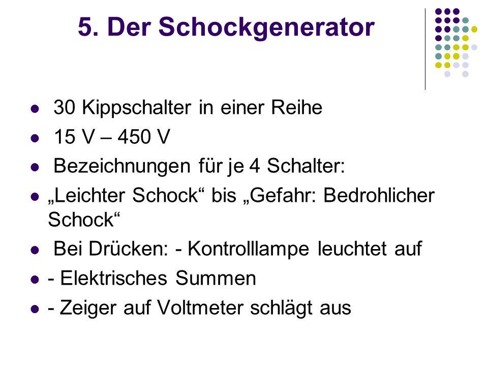 5. Der Schockgenerator 30 Kippschalter in einer Reihe 15 V – 450 V Bezeichnungen für je 4 Schalter: Leichter Schock bis Gefahr: Bedrohlicher Schock Be
