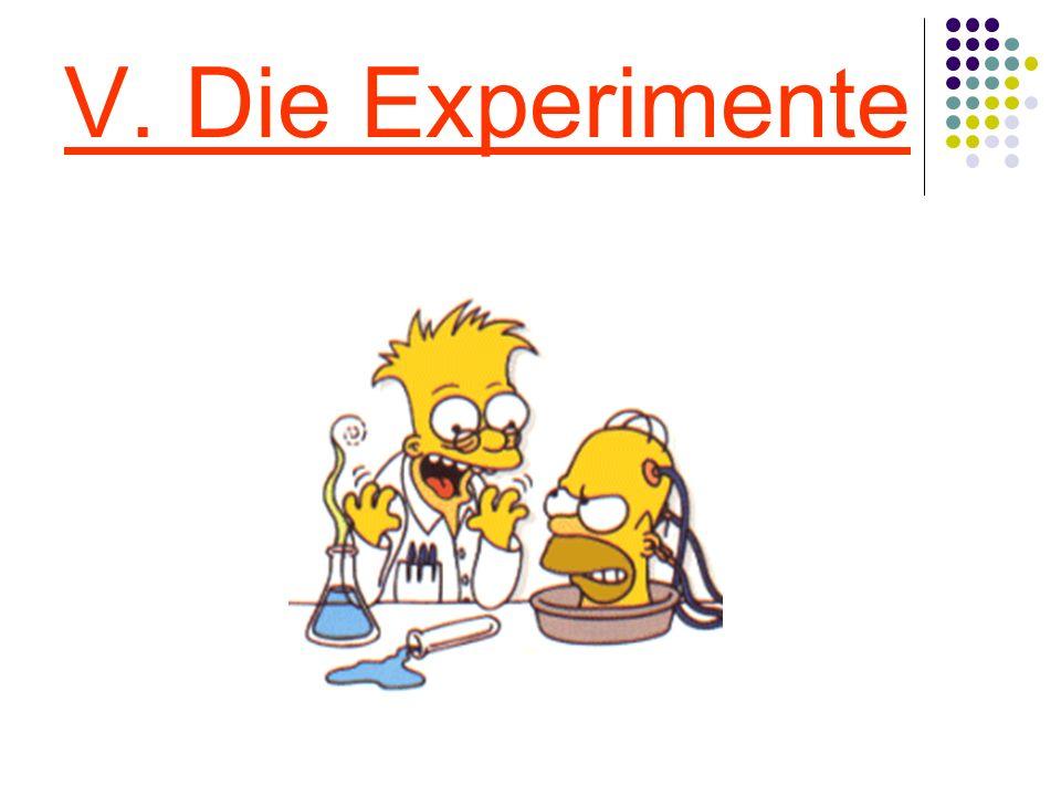 V. Die Experimente