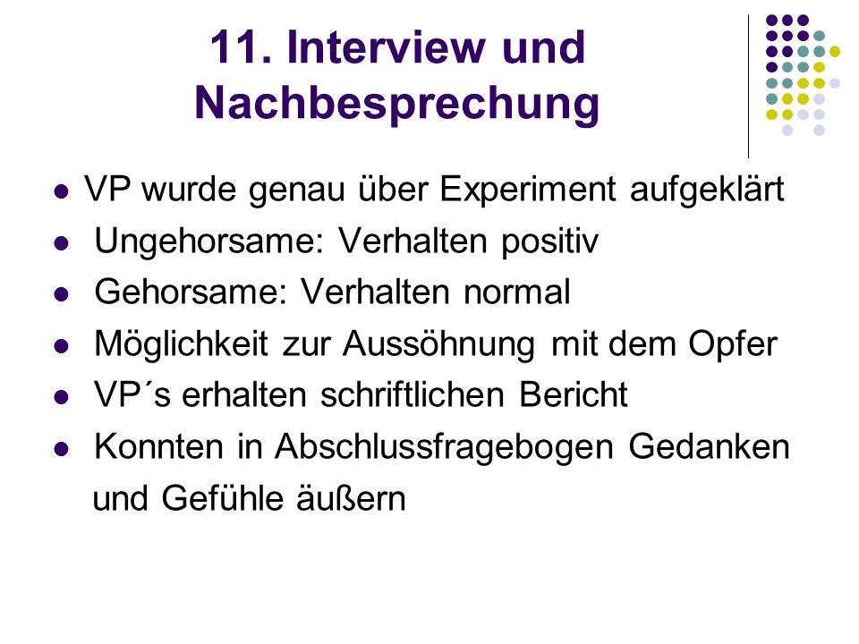 11. Interview und Nachbesprechung VP wurde genau über Experiment aufgeklärt Ungehorsame: Verhalten positiv Gehorsame: Verhalten normal Möglichkeit zur