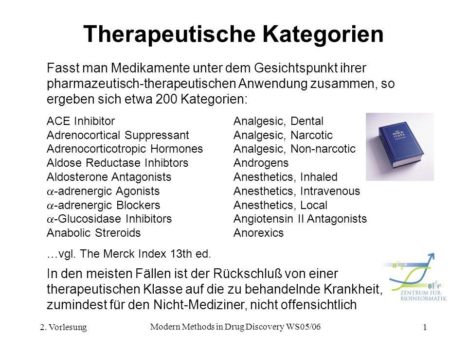 2. Vorlesung Modern Methods in Drug Discovery WS05/06 1 Therapeutische Kategorien Fasst man Medikamente unter dem Gesichtspunkt ihrer pharmazeutisch-t