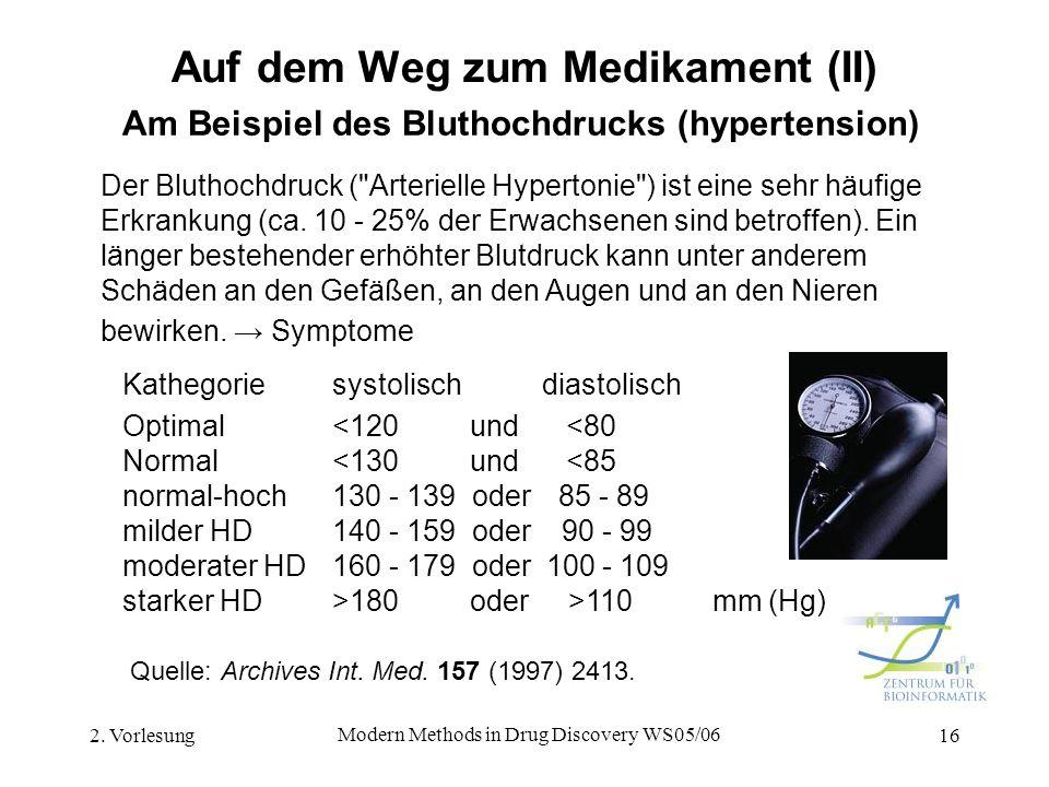 2. Vorlesung Modern Methods in Drug Discovery WS05/06 16 Auf dem Weg zum Medikament (II) Am Beispiel des Bluthochdrucks (hypertension) Kathegoriesysto