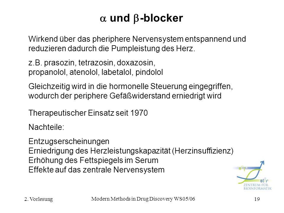 2. Vorlesung Modern Methods in Drug Discovery WS05/06 19 und -blocker Wirkend über das pheriphere Nervensystem entspannend und reduzieren dadurch die