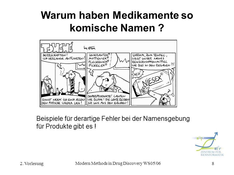 2. Vorlesung Modern Methods in Drug Discovery WS05/06 8 Warum haben Medikamente so komische Namen ? Beispiele für derartige Fehler bei der Namensgebun